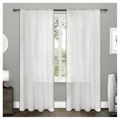 set of 2 96 x54 pom pom sheer curtain panels dark gray exclusive home