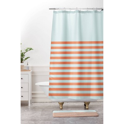 june journal beach striped shower curtain blue orange deny designs