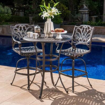 alfresco 3pc cast aluminum patio bar set bronze christopher knight home