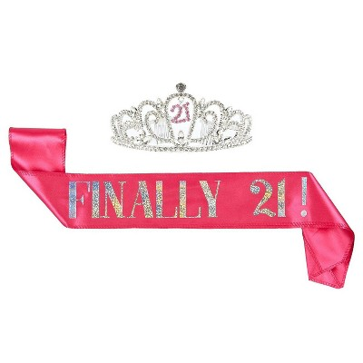 21th Birthday Tiara And Sash Finally 21 Pink Glitter Satin Sash And Rhinestone Crown Tiara Set For Gift Party Supplies And Decorations Target