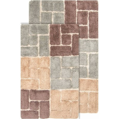 2pc berkeley geometric bath rug set cholocate gray chesapeake