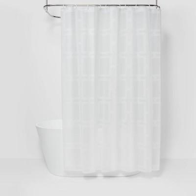 grid shower curtain white room essentials