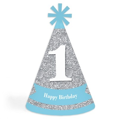 Big Dot Of Happiness 1st Birthday Boy Fun To Be One Cone Happy First Birthday Party Hats For Kids And Adults Set Of 8 Standard Size Target