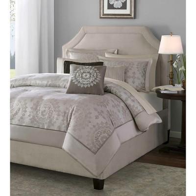 tan madeline jacquard comforter set king 12pc