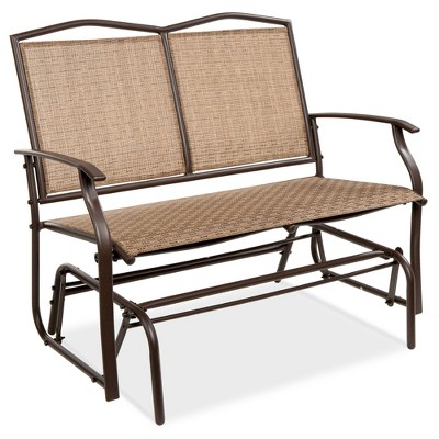 best choice products 2 person outdoor swing glider patio loveseat steel bench rocker for porch w armrests brown