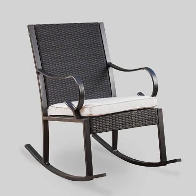 harmony wicker patio rocking chair black white christopher knight home