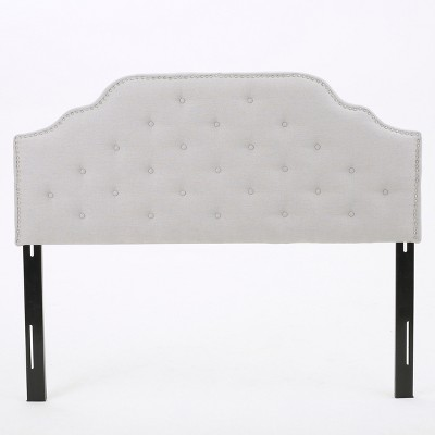 silas studded upholstered headboard full queen light gray christopher knight home