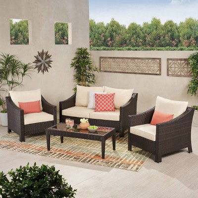antibes 4pc wicker patio chat set with cushions multi brown christopher knight home