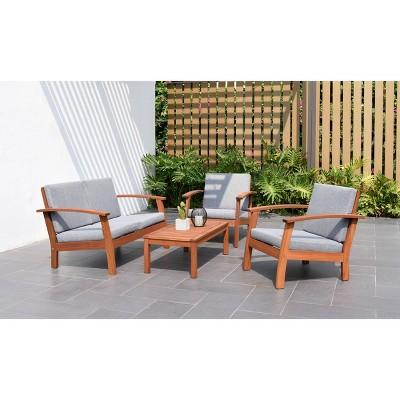 laguna beach 4pc patio conversation set made with durable 100 fsc eucalyptus wood gray amazonia
