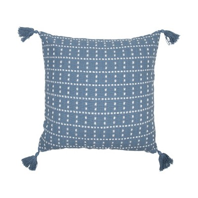 blue and white dot 20 x 20 inch decorative cotton throw pillow cover with insert and hand tied tassels foreside home garden