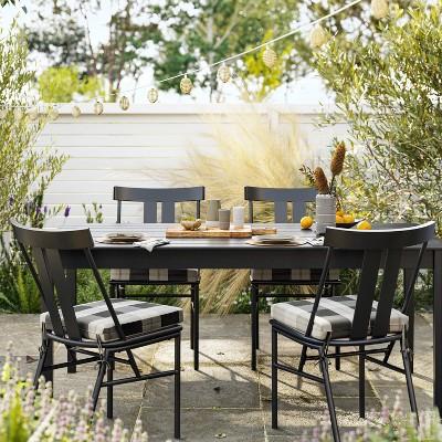 5pc blackened wood patio dining set