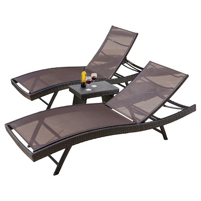 kauai 3pc all weather synthetic mesh adjustable chaise lounge set brown christopher knight home