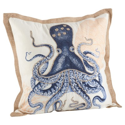 20 x20 octopus print cotton throw pillow navy saro lifestyle