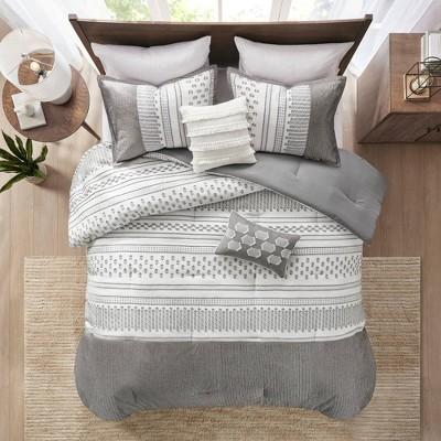 full queen 5pc jaxon comforter set gray