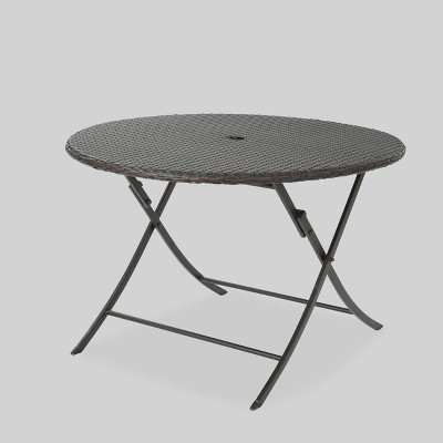 riad round wicker outdoor patio foldable dining table brown christopher knight home