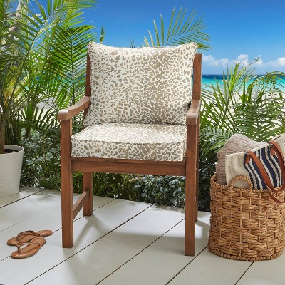 sunbrella 23 x25 x5 indoor outdoor deep seating pillow corded cushion set tan leopard