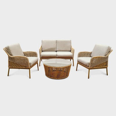 terrell 4pc wicker patio seating set tan leisure made