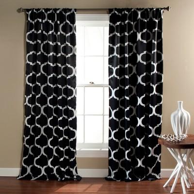 set of 2 84 x52 geo blackout window curtain panel black lush decor