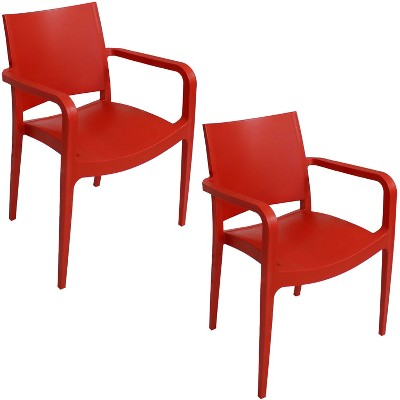 sunnydaze plastic all weather commercial grade landon indoor outdoor patio dining arm chair red 2pk
