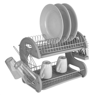 home basics s shape 2 tier dish drainer grey