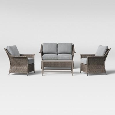 foxborough 4pc patio conversation set gray threshold