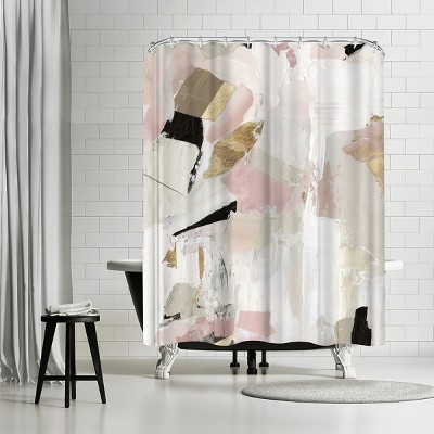americanflat black rose gold i by pi creative art 71 x 74 shower curtain