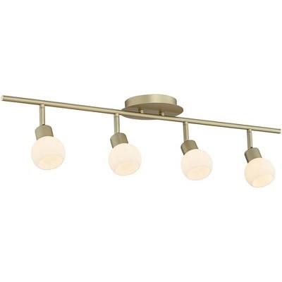 pro track globe brass 4 light led plug in track fixture