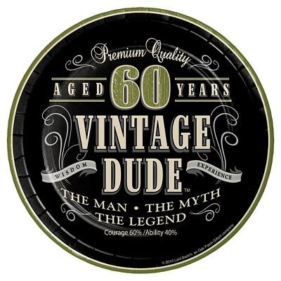 Vintage Dude 60th Birthday 7 Dessert Plates 8ct Target