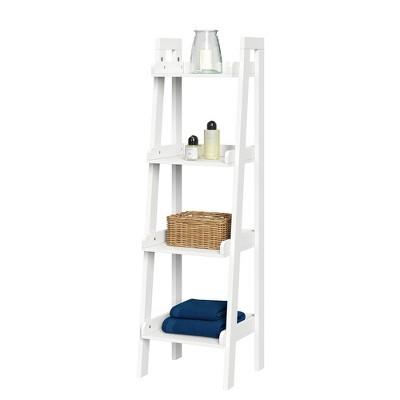 4 tier narrow ladder bathroom shelf white riverridge home
