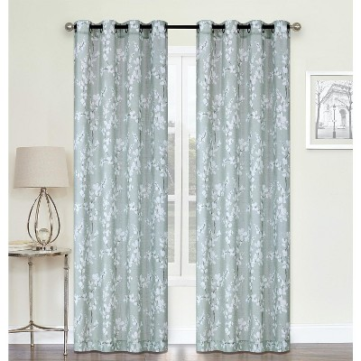 kate aurora living 2 pack shabby chic designed semi sheer grommet top cherry blossom window curtains 52 in w x 84 in l sage green
