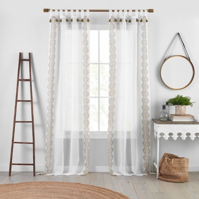 shilo boho sheer tab top window curtain panel with tassels 52 x 95 linen elrene home fashions