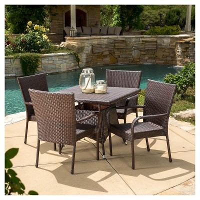 wesley 5pc wicker patio dining set brown christopher knight home