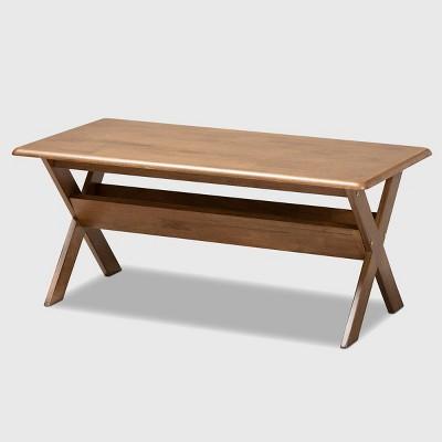 sarai rectangular wood coffee table brown baxton studio