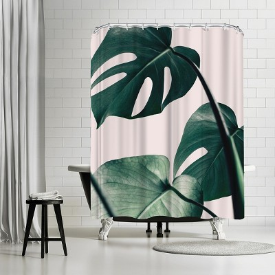 americanflat monstera pink by nuada 71 x 74 shower curtain