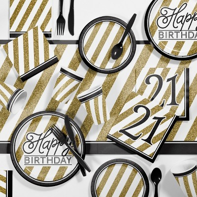 21st Birthday Party Supplies Kit Black Gold Target