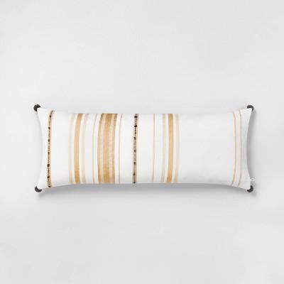 oversize lumbar pillow yellow sour cream hearth hand with magnolia