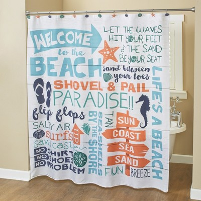 lakeside welcome to the beach shower curtain with coastal sentiments and icons