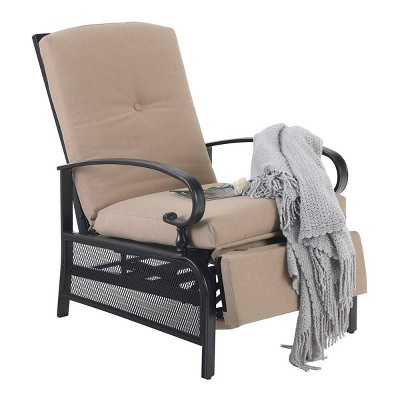 patio adjustable recliner lounge chair beige captiva designs