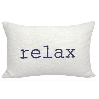 relax embroidered lumbar throw pillow cream navy threshold