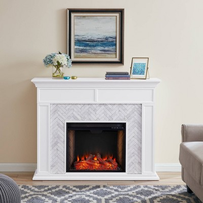 tenmoor tiled marble fireplace mantel with alexa firebox aiden lane
