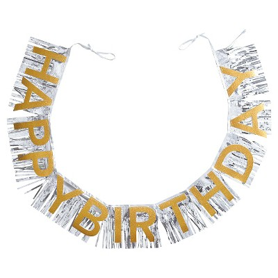 Gold And Silver Happy Birthday Banner Spritz Target