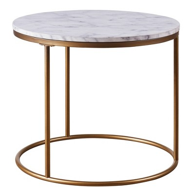 marmo round side table with faux marble brass versanora