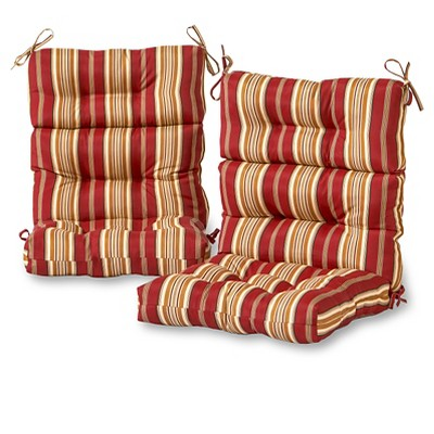 set of 2 roma stripe outdoor high back chair cushions kensington garden