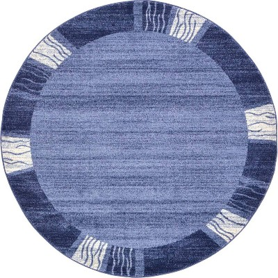 6 round sarah del mar rug navy blue white unique loom
