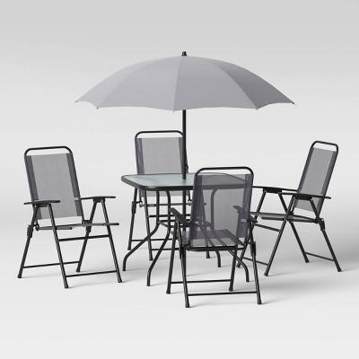 6pc folding patio dining set gray room essentials