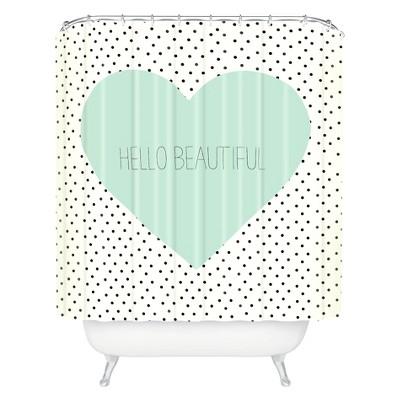 hello beautiful heart shower curtain polka dots mint green deny designs