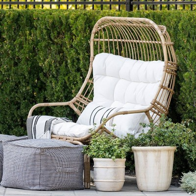 wicker metal patio egg chair threshold designed with studio mcgee