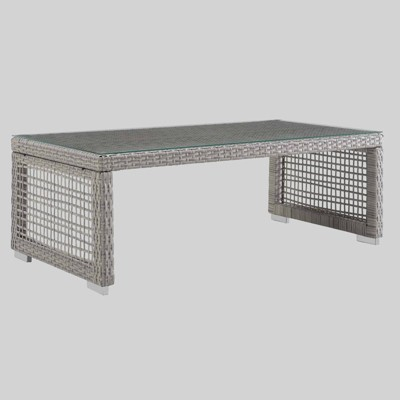 aura rattan outdoor coffee table gray modway
