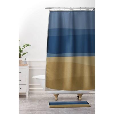orara studio modern christmas shower curtain blue brown deny designs