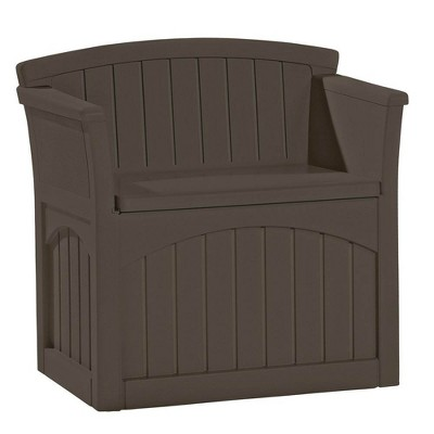 suncast 31 gallon patio seat outdoor storage and bench chair java 2 pack